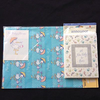 Baby Announcements 10 pk Cards and Envelopes + Baby Shower Wrapping paper NIP