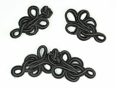 5 pairs frog fasteners closure button knots Black #8 Medium