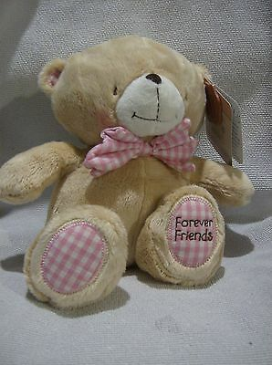 Forever Friends plush 9inch teddy pink bow