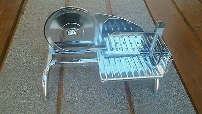 Vintage Rival Table Top Deli Hand-Crank Chrome Meat Slicer Cheese Meat Ham Food