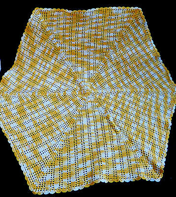 VTG Handmade Crochet Yellow and White Lace Table Doily Lace Center Runner Decor