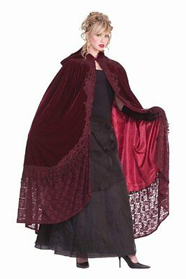 Victorian Hooded Cape With Lace Halloween Costume Accessory Adult ?Women Velvet