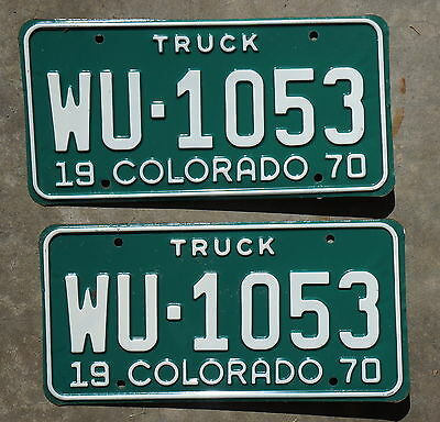 1970 Colorado Truck License Plate Tags PAIR / SET