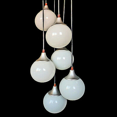 Space Age Sputnik Chrome Cascade Chandelier/6 Opaline Glass Globes/Vintage 1960s