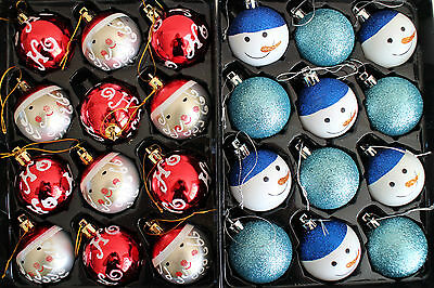 12 Santa Or Snowman Baubles Glitter Teal Blue, Red Christmas Tree Decorations