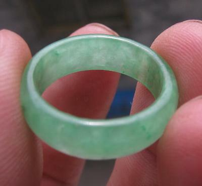 natural green jade  hand carved lady ring sz7 collectable  jade