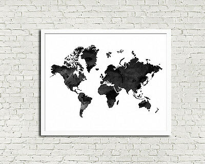 8 x 10in watercolour black WORLD MAP modern wanderlust travel wall art print