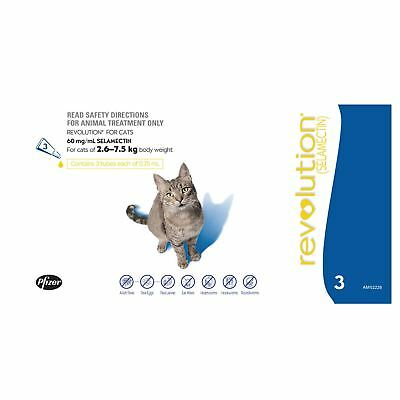 Revolution Blue Cat 2.6-7.5KG (3 Pack) Flea & Worming Treatment Genuine