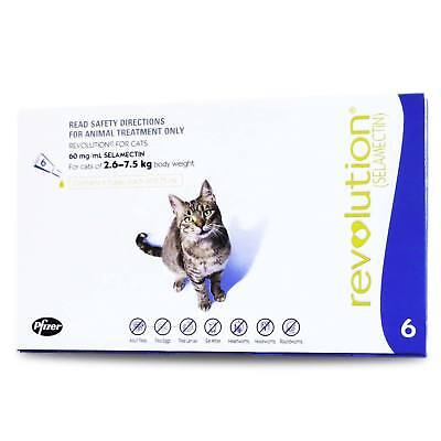 Revolution Blue Cat 2.6-7.5KG (6 Pack) Flea & Worming Treatment Genuine