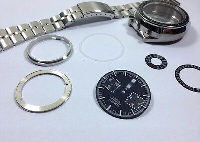 New Seiko Bull Head All Black Dial 6138-0040 Gents Complete Watch Case & Strap