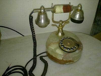 Vintage Telephone Onyx (alabaster) rotary dial GOLD PLATED (ITALY)