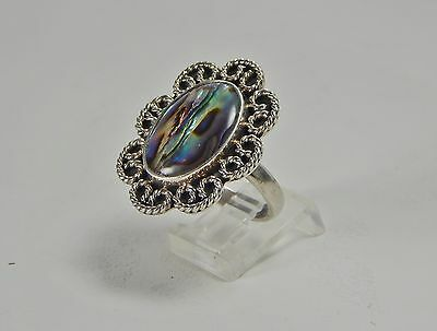 Vintage  Mexico 925 Sterling Silver Iridescent Abalone & Filigree Ring Size 8