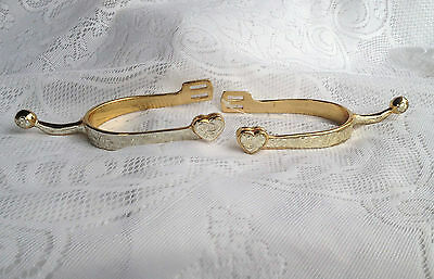 Ladies Western Show Spurs - Gold/Silver Engraved with Hearts/Flowers/Scroll 953