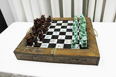 Antique Vintage Japanese hand carved wood and jadite  chess Set  Board