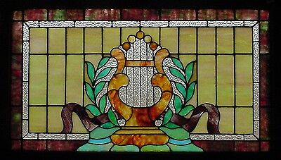 Antique American Stained Glass Window with Lyre