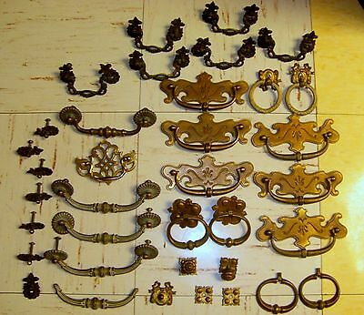 Antique Furniture Hardware Brass Lot Of 35 Pieces