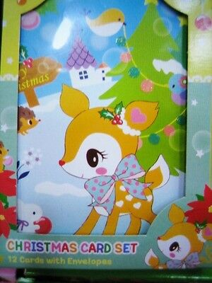 2016 Sanrio Hummingmint Deer Christmas 12 Cards Set With Envelopes ~ NEW