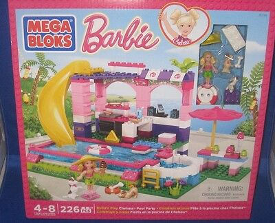 Mega Bloks Build 'n Play Barbie Chelsea Pool Party 226Pc. Ages 4-8 , New
