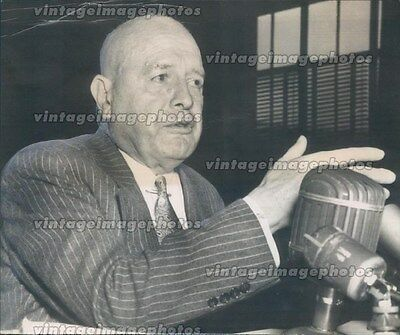 1949 Press Photo Harry Anslinger Interview News Conference Testify Court Vintage