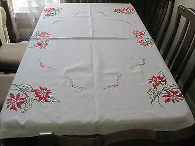 Gorgeous Vintage Hand Embroidered Poinsettia Pure Linen Tablecloth