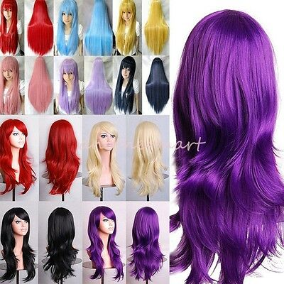 Cosplay Wig Women's Long Curly Wavy Straight Hair Full Wigs Party Costume Wig #L
