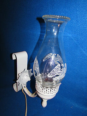 Vtg White Metal Electric Wall Mount Light Sconce W Flower And Eagle Glass Shade