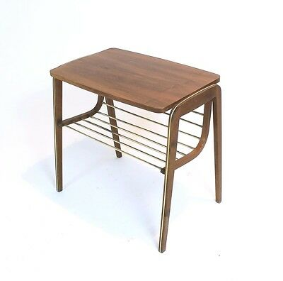 VINTAGE RETRO AUSTRIAN BRASS and WALNUT WENEER ACCENT/SIDE TABLE ,MAGAZINE RACK
