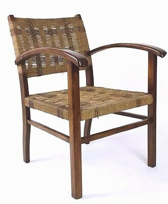 Vintage  Hungarian  Modern  Art Deco  Woven Rope Armchair