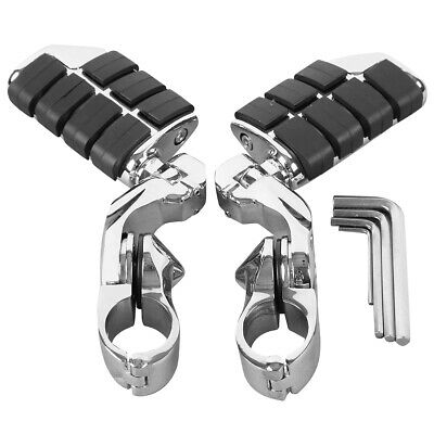 """1 1/4"""" 32mm Chrome Highway Foot Pegs Footrest Clamps For Harley Engine Guard Bar"""