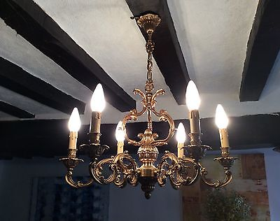 Vintage French Superb Gilt Bronze Chandelier Large Birdcage Style Ceiling Light