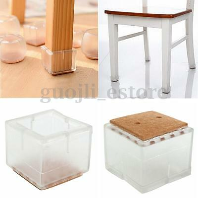 8X Square Rubber Furniture Table Chair Leg Floor Feet Cap Cover Protector Pads