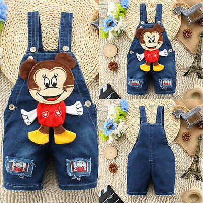 Kid Baby Girl Boy BEAR Playsuit Jumpsuit Jeans Bib Pants Overall Dungaree Outfit