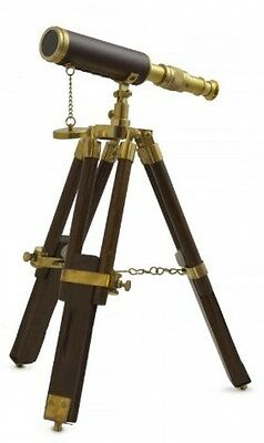 Tabletop Telescope, Brass And Wood