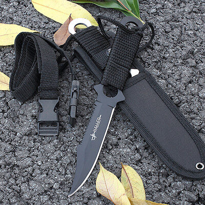Survivor Full Tang Serrated Back Edge Fixed Blade Outdoor Survival Knife  7.5''