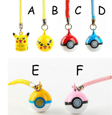 1PC Cute Jingle Bells Pikachu Pokemon Ball Cell Phone Charm Strap Dangle Figures