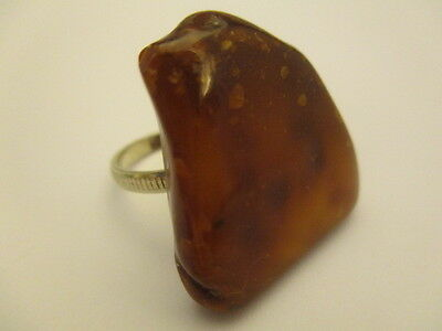 Amber Baltic Ring Antique Genuine 4.42 Gr Dark Honey Color Silver Plated (QR008)