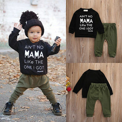 Toddler Infant Kids Baby Boys Clothes Printed T Shirt Tops+ Pants Trouser Outfit