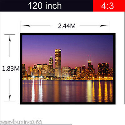 """120"""" Portable 4:3 Fabric Matte White Projector Projection Screen Home Theater"""