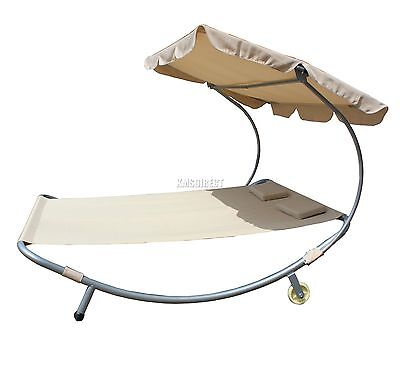 FoxHunter Garden Outdoor Patio Double Sun Lounger Day Bed Hammock Canopy Beige