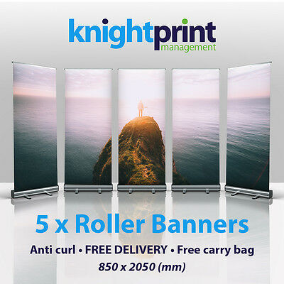 5 x Roller Banners - Pop up - Roll up Banner - Exhibition Display Stand - 850mm