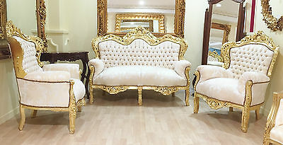 Throne Suite 3 1 1 Gold Damask French Ornate Shabby Chic Seater Sofa Chair