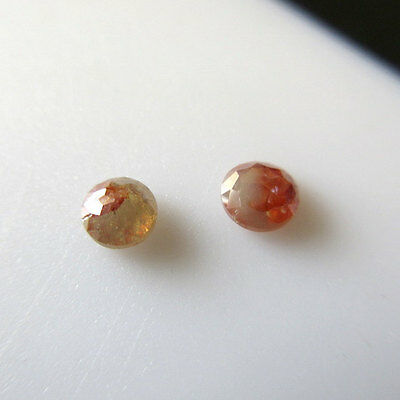 1 Pc Red Peach White Rose Cut Loose Rough Diamond Raw Faceted 3.5mm SKU-DDS82