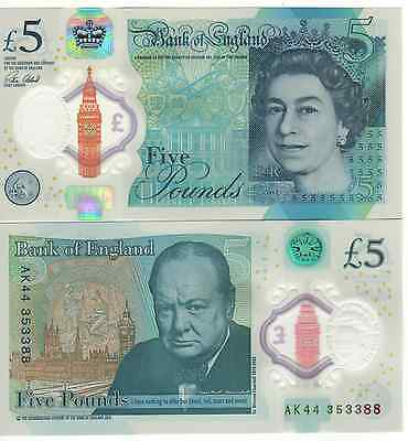 ENGLAND. New JUST ISSUED £ 5 POLIMER. Attrattive. QUEEN-CHURCHILL 2016. UNC