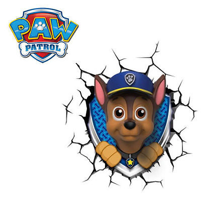 Paw Patrol Chase 3D Deco Light Wall Night LED Lamp for Kids Nickelodeon