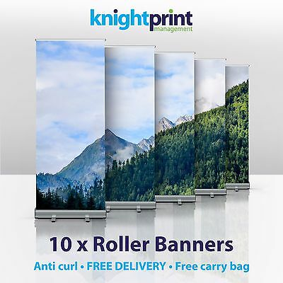 10 x Roller Banners - Pop up, Roll up Banner - Exhibition Display Stand - 850mm