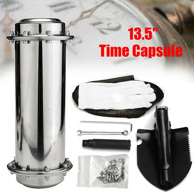 """13.5"""" Stainless Steel Time Capsule + Tool Container Storage Memory Future Gift"""