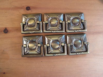 Set of SIX Midcentury Drawer Handles Brass Finish Architectural Design Element