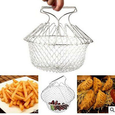 New Foldable Steam Rinse Strain Fry Chips Basket Magic Mesh Strainer For Cooking