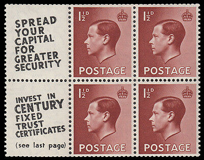 SG459a 1 1/2d. Red-brown booklet pane. Advert pane number 11. Unmounted.