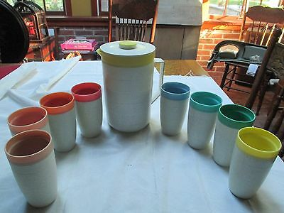 """Vtg Cornish Therm-o Pitcher & 8 Thermo 5"""" Tumblers"""
